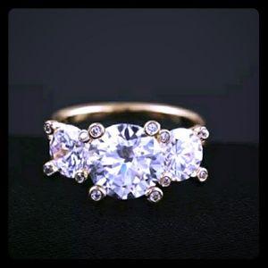 NWOT AAA CZ Three Stone Diamond Similulated Ring